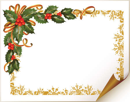 round corner: Christmas holly branch in the corner of the paper