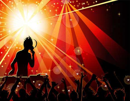 rave party: Bailando la gente joven en el club nocturno