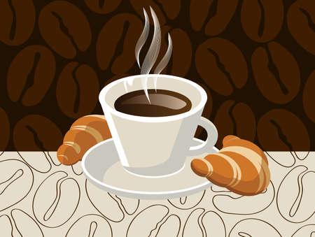 cup of coffee with croissants  Stock Vector - 15362330