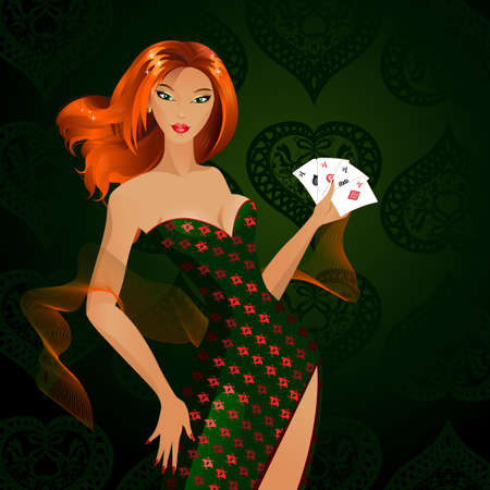 Beautiful fashionable girl with playing-cards  Vector