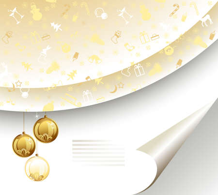 light Christmas backdrop with three balls  Vector