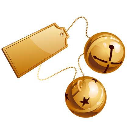 xmas decoration: Two ringing shine bells with card  Illustration