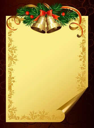 Christmas backdrop with evergreen trees and bells  Vector