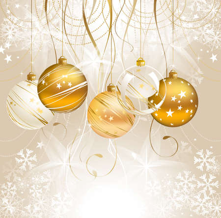 celebration eve: light Christmas backdrop with five balls  Illustration