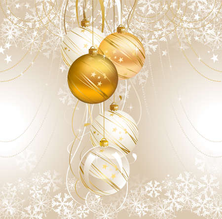 glimmered: light Christmas backdrop with five balls