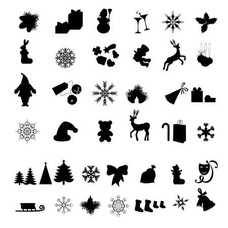 bear silhouette: Silhouettes of Different Christmas icon