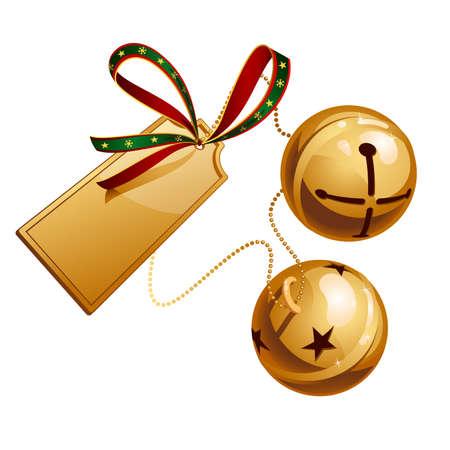 Dos campanas brillo con tarjeta Ilustración de vector