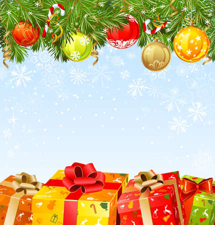 congratulate: four Christmas gifts under a fir-tree  Illustration