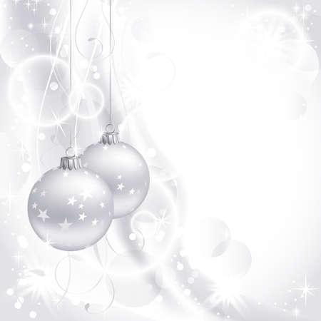 silver balls: good-looking white Christmas backdrop with two balls