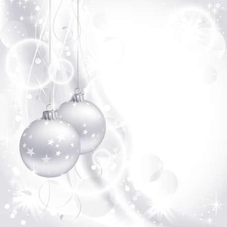 christmas ball: good-looking white Christmas backdrop with two balls