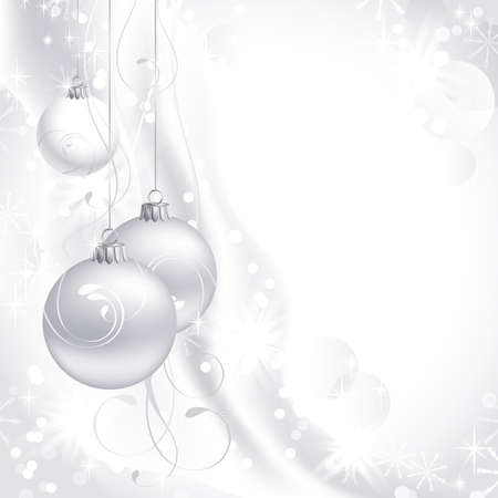 christmas garland: white Christmas backdrop with three balls  Illustration