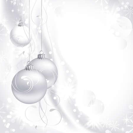 slingers: witte kerst achtergrond met drie ballen