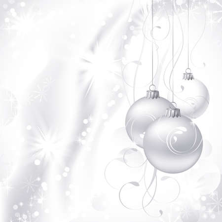 silver stars: white Christmas backdrop with three balls  Illustration