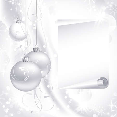 glimmered: white Christmas backdrop with three balls  Illustration