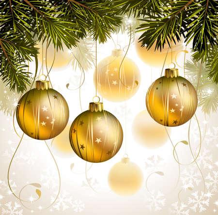 light backdrop with gold evening balls  Illustration