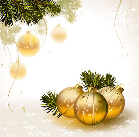 light backdrop with gold evening balls  Vector