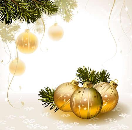 stilllife: light backdrop with gold evening balls  Illustration