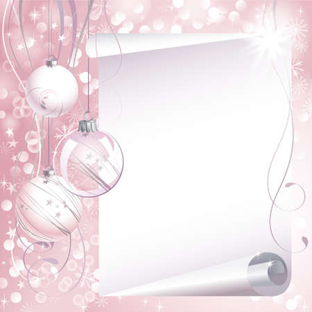 pink Christmas backdrop with three balls  Vector