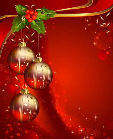 glimmered: three shiny ball on the red Christmas background