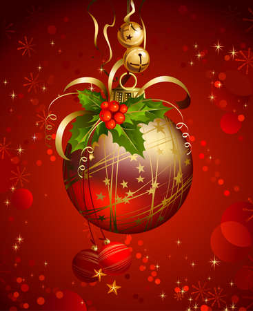 glimmered: one shiny ball on the red Christmas background  Illustration