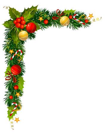 Kerstmis groenblijvende takken in de hoek van het papier