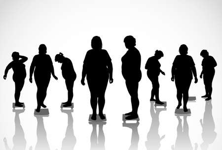 overeating: 8 figures of thick women are on the scales