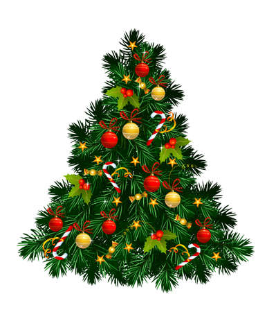 sphere standing: Christmas tree with balls, stars, candies