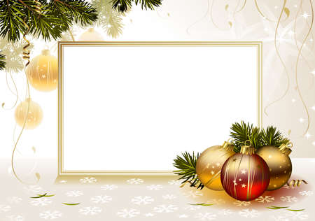 christmas holiday background: light backdrop with evening balls and card  Illustration