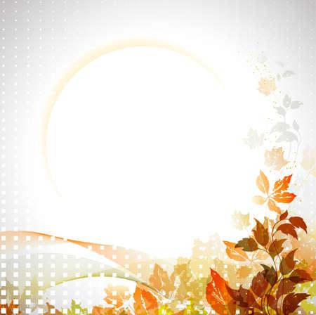 calendario octubre: composición otoño con el lugar para el texto