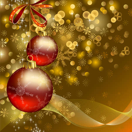 glimmered: Christmas background with two evening balls  Illustration