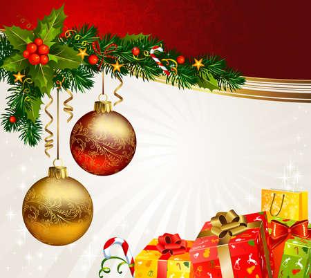 Kerstpakketten onder een tak van fir-tree