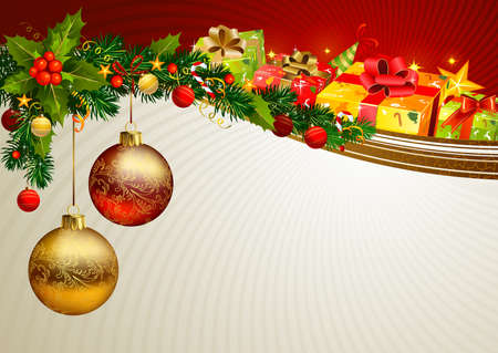 evergreen: Christmas background with a branch of evergreen and gifts