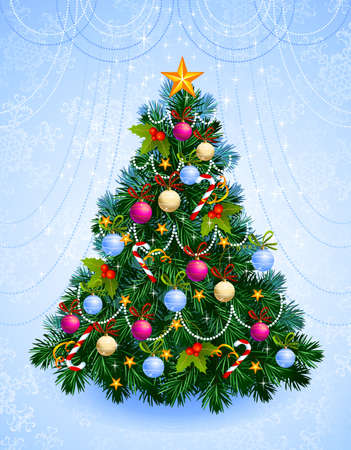 Christmas tree with balls, stars, candies  Stock Vector - 15357997