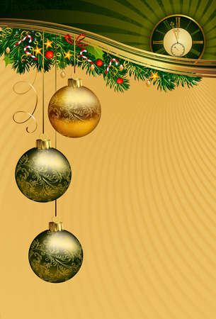 in midnight: Christmas background with midnight clock  Illustration