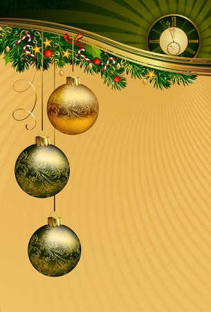 midnight: Christmas background with midnight clock  Illustration