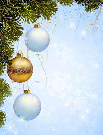Three christmas balls hanging from fir-tree