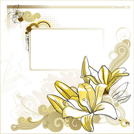 round corner: Background with a drawn lilies and decoration  Illustration