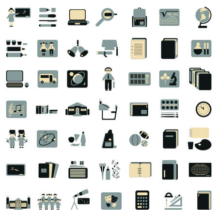 college building: school and college education icons  Illustration
