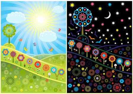 dia y noche: D�a decorativo claros y noche Vectores