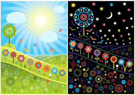 fun grass: Decorative day and night glades  Illustration