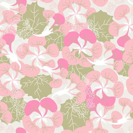 begonia: seamless ornament of pink Begonia  Illustration