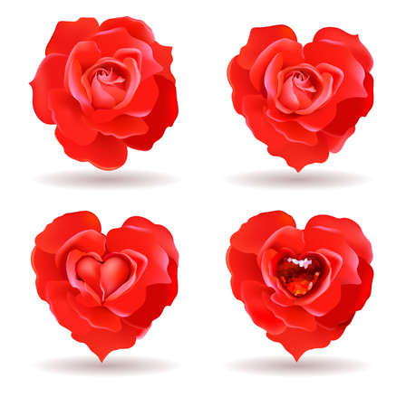 symbolics: four red roses with valentine symbolics  Illustration