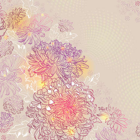 greeting-card with decorative chrysanthemums and asters  Vector