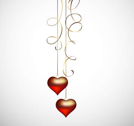 amour: two hanging hearts  Illustration