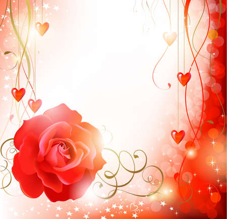 Shine background with big Red rose  Vector