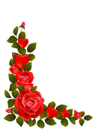 formative: Red roses and leaves formative comer  Illustration