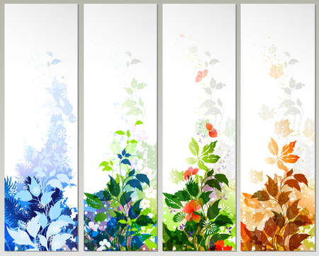 Set of four season banners  Vector