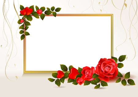 rose frame: beige background with hearts and red roses