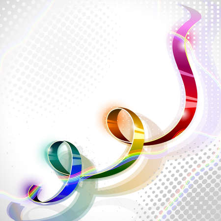 spectral iridescent ribbon on abstract background  Illustration