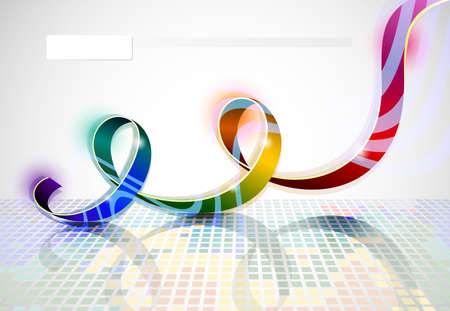 spectral: spectral iridescent ribbon on abstract background  Illustration